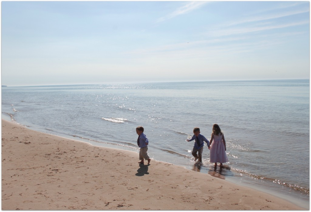 kids on lake michigan