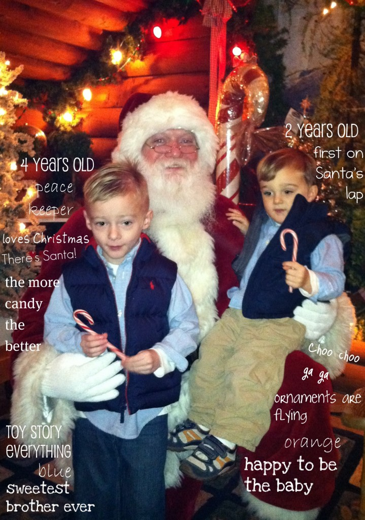 boys sitting with Santa