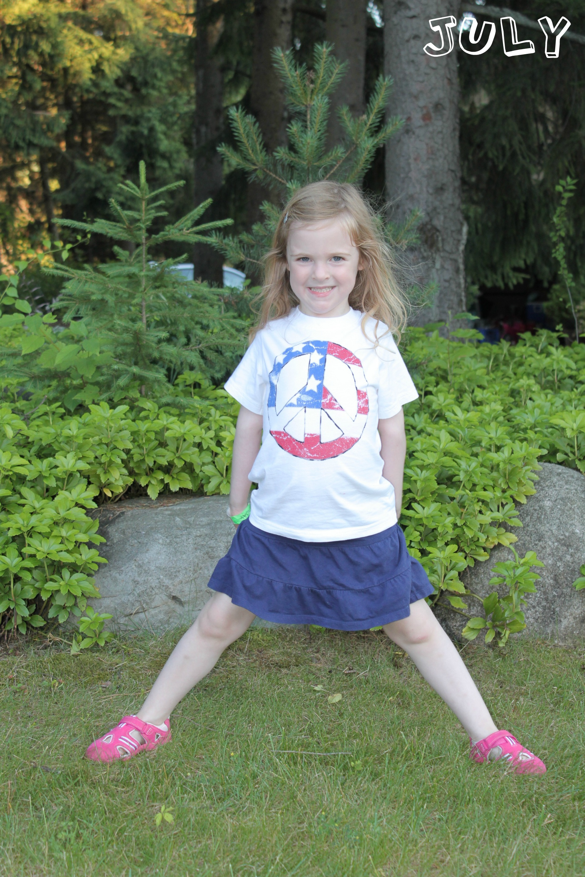 girl in 4th of july shirt