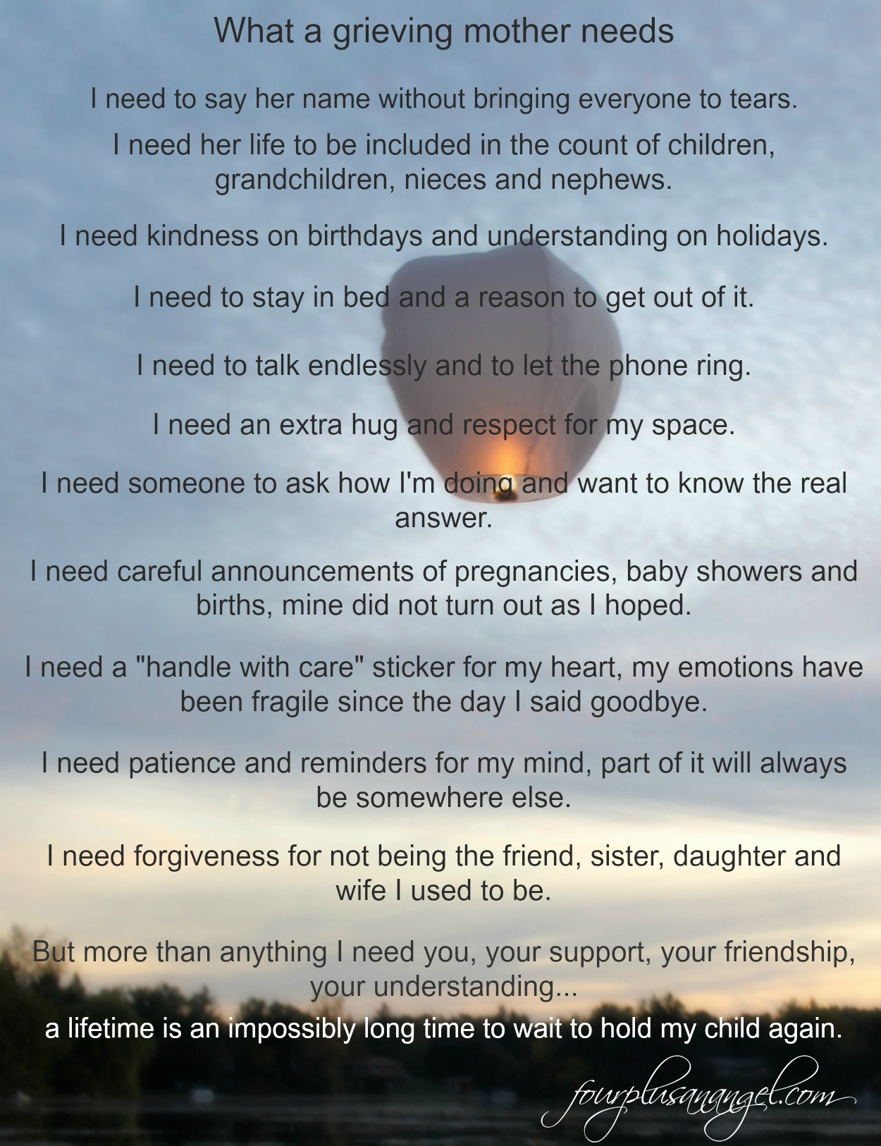 What I Need As A Grieving Mother Four Plus An Angel
