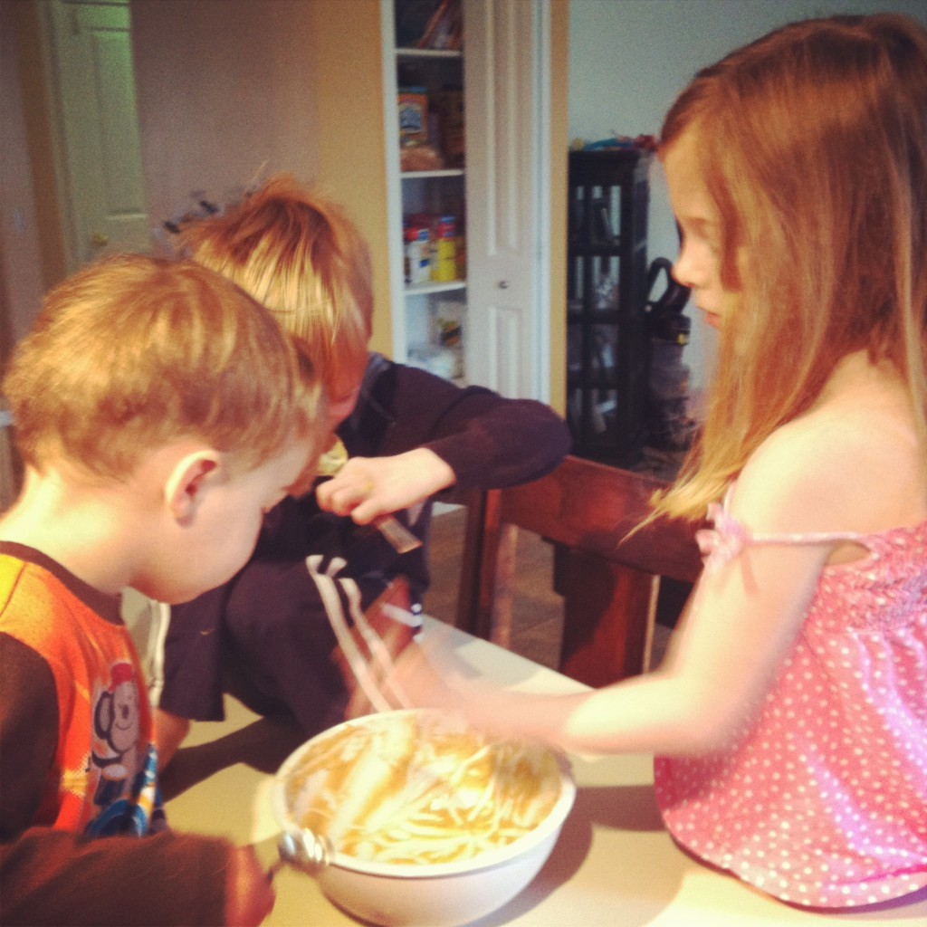 kids eating batter