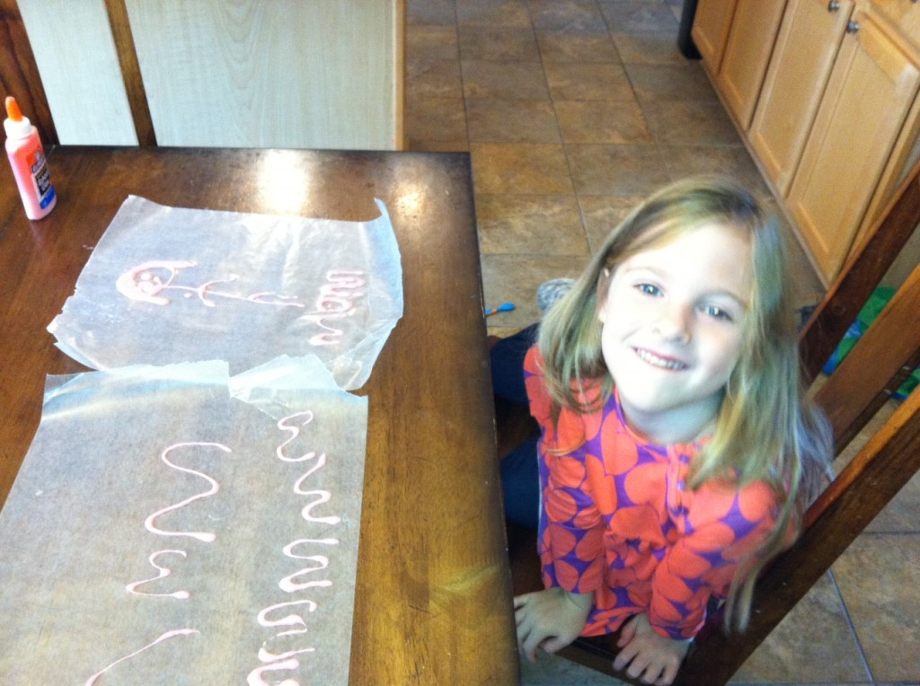 making letters with glue