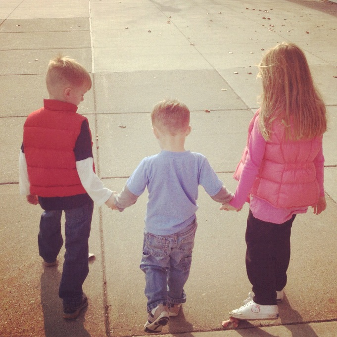 3 kids walking