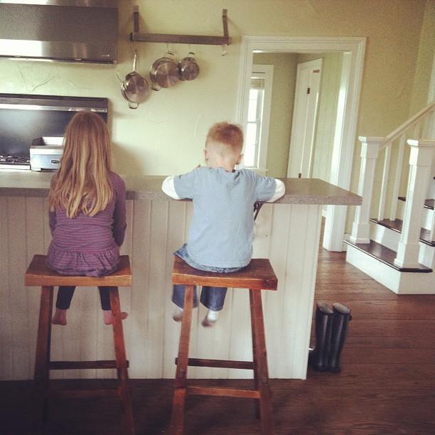 kids in new kitchen