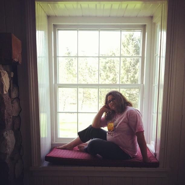 sitting in window
