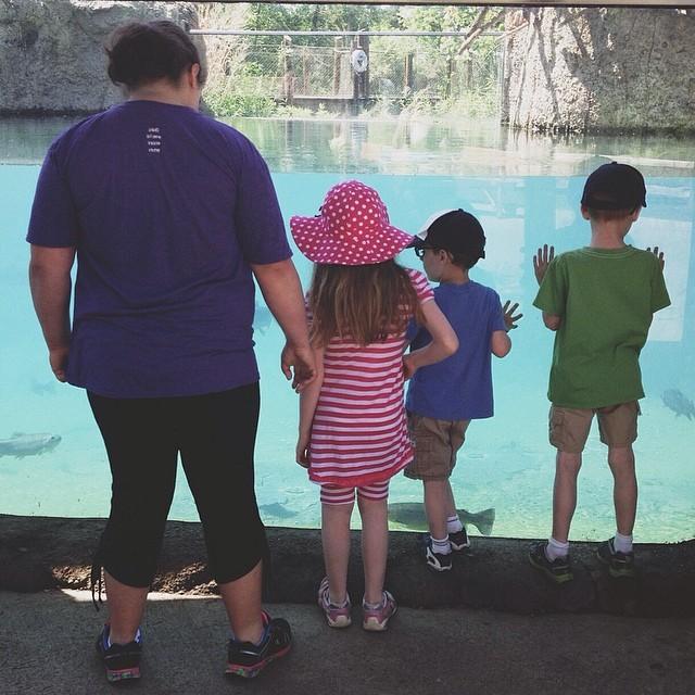 kids at the aquarium